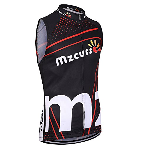 Mzcurse Men's Sleeveless Wind Vest Jersey Shirt Tank Tops Tees Zipper Elastic (Red , Large,please check the size chart)