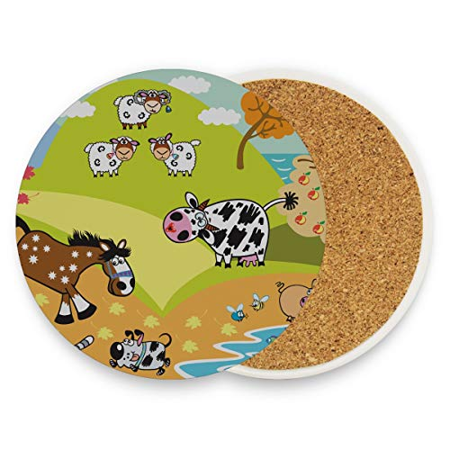 Dibujos animados Animales domésticos Cabra oveja Caballo Cerdo D Adolescente Bebida Posavasos Posavasos Posavasos con piedra de cerámica y base de corcho para tipos de tazas y tazas