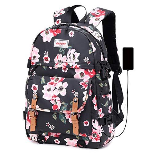 Mochila unisex con diseño de flores impresas con puerto de carga USB, informal, para adolescentes y mujeres, mochila de hombro