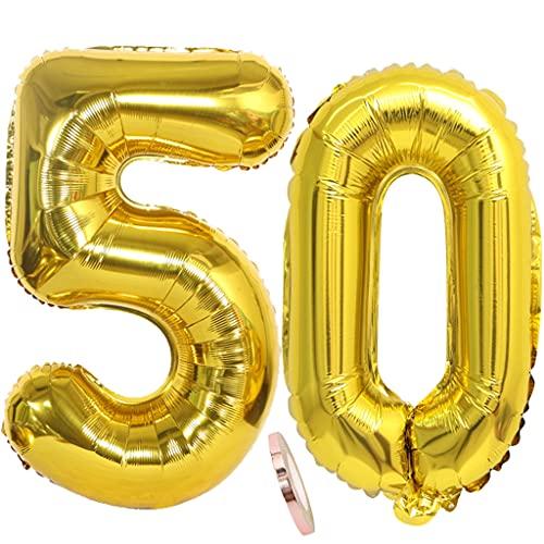 Conruich 2 palloncini numero 50, decorazione compleanno oro, palloncino foil compleanno gigante 80 cm, palloncini gonfiabili ad elio 32' palloncino foil per festa 50esimo compleanno decorazioni