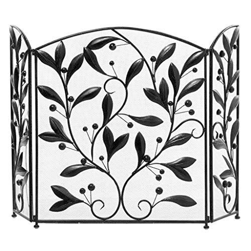 Antichispas para chimenea 3 Panel de pantalla Negro chimenea chispa patrón protector de la cubierta Florero del mosaico de la pantalla de malla metálica Chimenea Salvachispas para la Chimenea