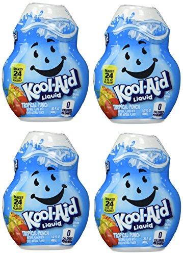 Kool-Aid Tropical Punch Liquid Drink Mix, Caffeine Free, 1.62 fl oz Bottle (Pack of 8)