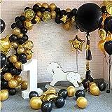 CHSYOO - Juego de 112 arcos y guirnaldas de globos dorados y negros para graduación, boda, fiesta de cumpleaños, centro de mesa de aniversario, decoración de fondo para baby shower