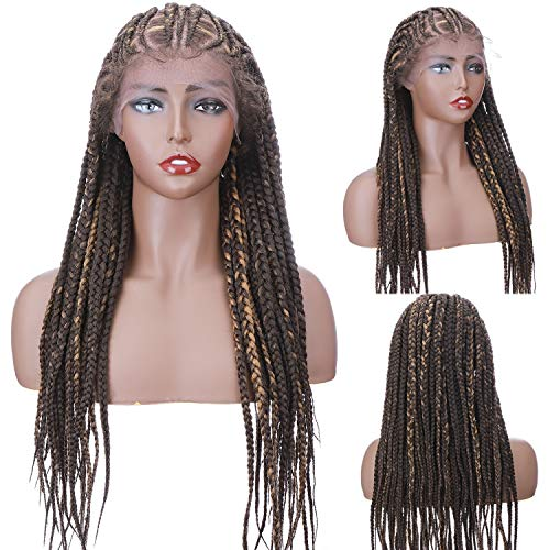 "S-noilite Braided Wigs Hand Tied Box Braided Wigs for Black Women Twist Crochet Cornrow Braid Wigs Lace Front Braided Wigs 6.5x10x13"" Lace Front with Baby Hair Ombre 30""(#Natural Brown/Dark Blonde)"
