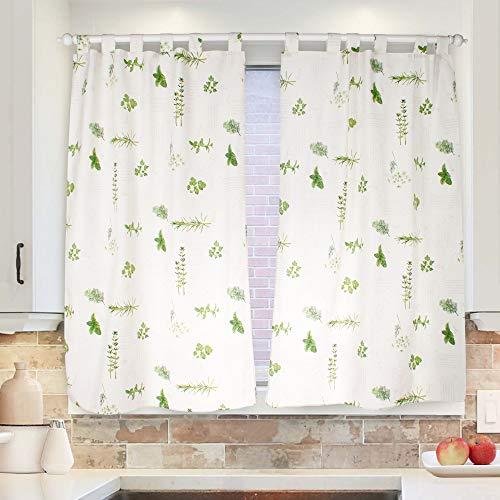 Viste tu hogar Cortina de Cocina 140x145, Diseño de Plantas, Hechas 50% de Poliéster y 50% de Algodón, 1 Pieza, Ideal para La Decoración de Tu Hogar, Estampado Color Verde