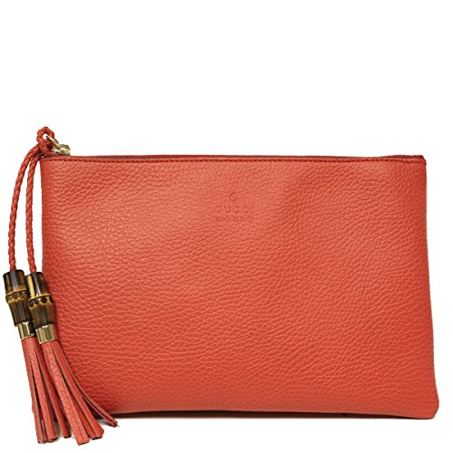 Gucci Red Leather Bamboo Braided Tassel Large Medium Clutch Bag 376854