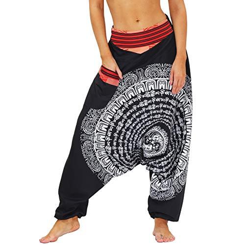 Nuofengkudu Pareja Mujer Hombre Pantalones Cintura Alta Bombachos Anchos Hip Hop Drop Crotch Hippies Flojos Pantalón Muay Thai Deportivo Yoga Pants Fiesta(016-Negro,L)