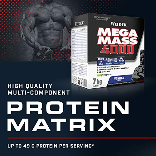 Weider Mega Mass 4000, Vanilla, Protein Rich Formulation with Creapure Creatine, High Quality Complex Carbs, Muscle Building, 7kg