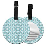 Round Travel Luggage Tags,Continuous Nested Squares Design Pattern with Retro Influences,Leather...