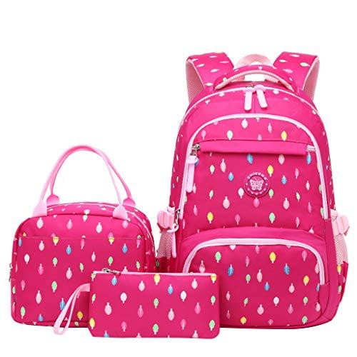 Kinderrucksack 3 Stück Rosa Mädchen Grundschultasche Nylon wasserdicht mit isolierten Lunchpaket Federmäppchen für Kinder Tagesrucksack, 6-13 Jahre Jugendliche Laptoptasche Schülerrucksack.