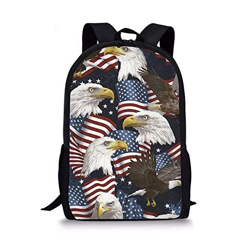 jenny-shop American Eagle Kids Rucksack Schulkinder Büchertasche Rucksack Leichter Tagesrucksack für Jungen Mädchen 17 Zoll