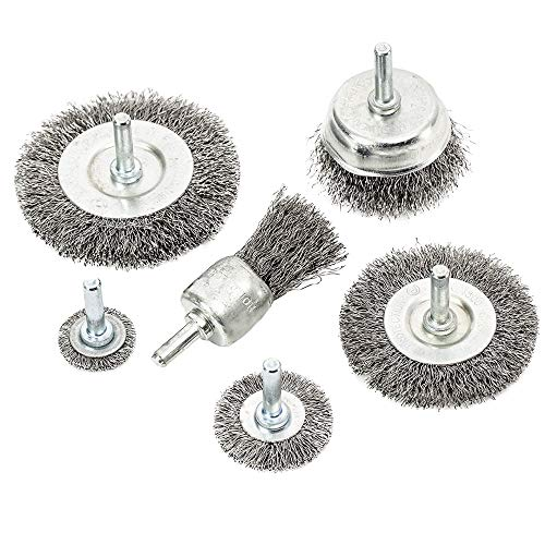 eHomeA2Z Wire Wheel Steel Brush Cup (6 Pcs) For Drill 1/4 Inch Arbor Cleaning Rust Stripping.