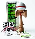 Sweets Kendamas Prime Sport Stripe Kendama - Sticky Paint, Stripe Design, Extra String Accessory Gift Bundle (Racer)