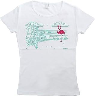 (ムームーママ) MuuMuuMama 半袖 フライス Tシャツ Hulamingo柄