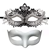 kungfu Mall 2 Piezas Mascarada de Pareja Máscara de Filigrana de Metal Diamantes de imitación Máscaras venecianas para la máscara de Fiesta de Carnaval, 1 Pieza Máscara de Media Cara (Blanco)