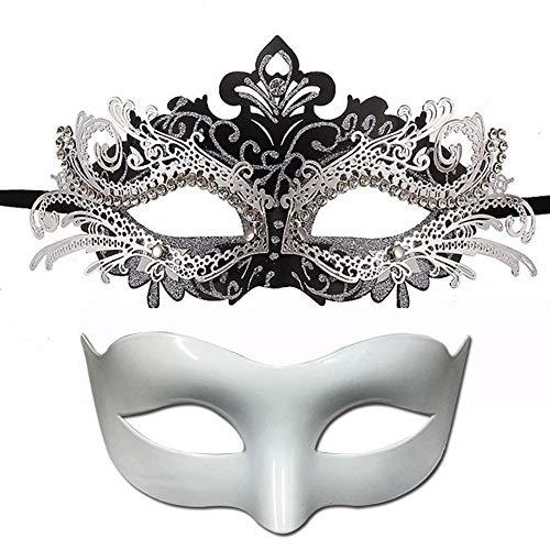 kungfu Mall 2 Piezas Mascarada de Pareja Máscara de Filigrana de Metal...