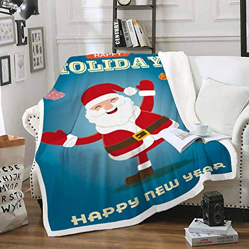 HAHAHAG Flannel Fleece Throw Blankets Santa Claus 60x79inch Woven Pattern Soft Blankets Embossed lightweight Blankets for Sofa/Couch/Bed