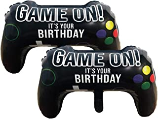 """Party Hive Large 22"""" GAME ON Video Game Controller Helium Balloon for Kids Birthday Party Event Decoration (2 Pack)"""