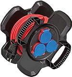 X-Gum IP44 - Carrete de cable de goma para construcción (10 m, uso permanente en exteriores, mezcla de goma especial, fabricado en Alemania)