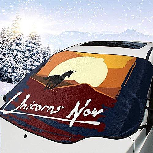 MaMartha Car Windshield Snow Cover Unicorns Now Apocalypse Now Schneedecke für Windschutzscheibe, Sonnenschutz zum Entfernen von EIS, Universal Fit