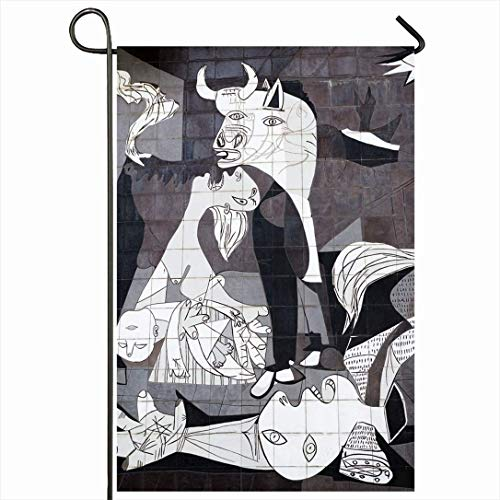 PQU Awesome Yard Flag,Pablo Guernica España 10 De Octubre Pintor Azulejos Picasso Parques Español Resumen Cubismo Pintura Historia Atractivo Patio Banderas,32x45.7cm