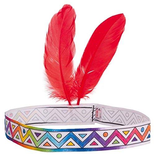 Goki Indianerstirnband Zum anmalen, mit 2 Federn, Indianerparty, Stirnband, Indianer