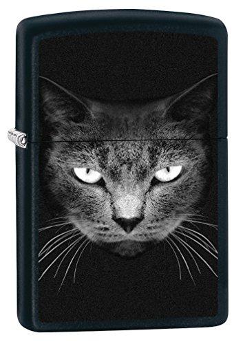 Zippo Sturmfeuerzeug 60002473 BLACK CAT FACE - Black Matte - Zippo Collection 2017 -