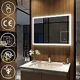 Meykoers - Espejo de pared para cuarto de baño con iluminación LED, armario de pared con múltiples funciones, 3000 – 6400 K