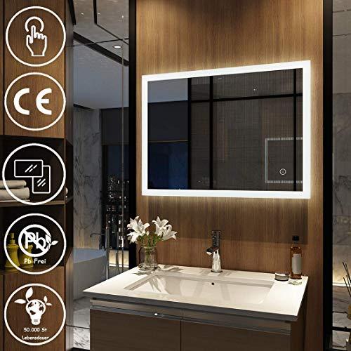 Meykoers Wandspiegel Badezimmerspiegel LED Badspiegel mit Beleuchtung 80x60cm mit Touch-Schalter, Lichtspiegel Kaltweiß 6400K