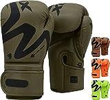 RDX Guantes de Boxeo para Muay Thai y Entrenamiento, Convex Skin Combat Cuero Mitones para Sparring, Kick...