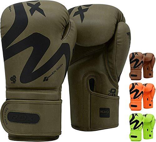 RDX Guantes de Boxeo para Muay Thai y Entrenamiento, Convex Skin Combat Cuero Mitones para Sparring, Kick Boxing, Boxing Gloves para Saco Boxeo, Combate Training (Verde Mate, 14oz)