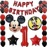 Shopama - Globos de decoración para 1 cumpleaños - 1 año - Mickey Mouse - Niño - Globos de Mylar y látex rojos y negros hinchables de helio - Juego de 43 piezas