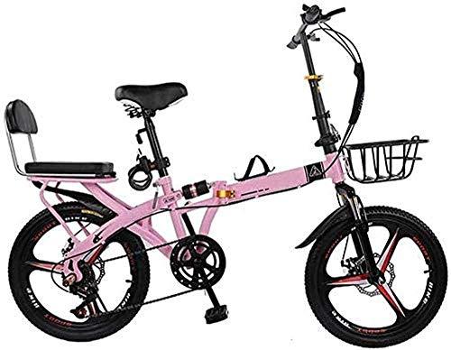 WGFGXQ 20-Zoll-Faltrad Vollstoßdämpfer Scheibenbremse mit Variabler Geschwindigkeit Mountainbike Erwachsenen ultraleichtes Studentenkinderfahrrad mit Korb