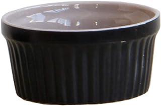 HomeDecTime Plat De Cuisson en Porcelaine Noire pour Soufflé, Crème Brûlée - Rond