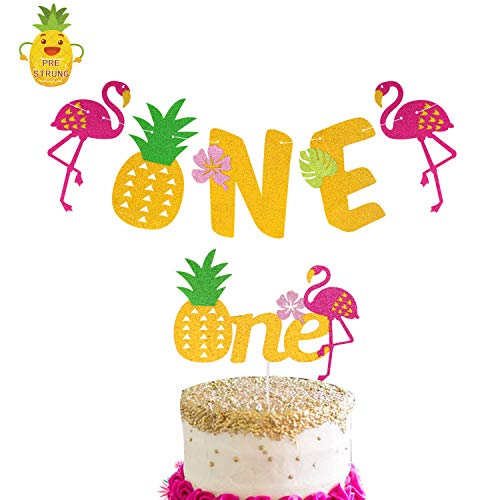 Flamingo Pineapple 1st Birthday Decorations One Cake Topper First Bday Banner For Tropical Hawaiian Luau Themed Party Supplies Wantitall
