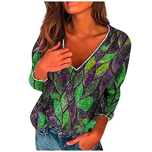 Sudadera para Mujer,Moda Manga Larga Casual Estampado de Hojas con Cuello en V Jersey Mujer Otoño Primavera Blusa Tops Suéter Mujer Abrigo Deportiva Sudaderas Mujer Baratas (Verde, XXL)