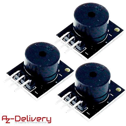 AZDelivery 3 x KY-006 Módulo de alarma de altavoz piezoeléctrico pasivo placa de circuito impreso para Arduino con eBook incluido