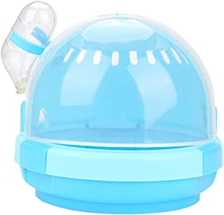 TOPINCN Hamster Portador de Viaje Portátil Transpirable Mascota Animal Pequeño Chinchilla Jaula Estuche de Plástico Transparente con Botella de Agua para Llevar Al Aire Libre Azul