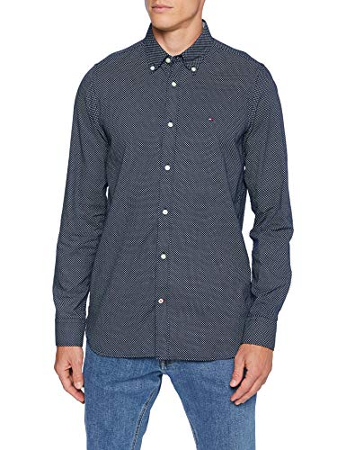 Tommy Hilfiger Herren Slim Micro Print Twill Shirt Hemd, Carbon Navy/White, XL