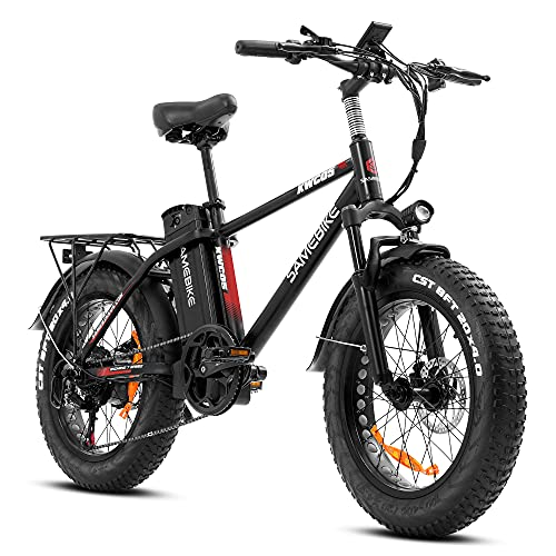 SAMEBIKE 750W Electric Mountain Bike 25Mph 4 inich Fat Tire Electric Bike for Adult, 48V 13Ah Removable Battery Electric Bicycles LCD Display with USB