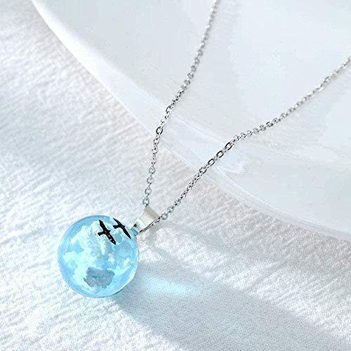 Yiffshunl Halskette Halskette Weiße Wolken Himmelblaue Vögel Glaskugel Anhänger Halskette Terrarium Halsketten für Frauen Halskette
