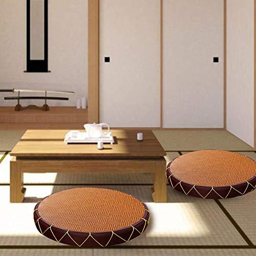 fancyU - Cojín de Suelo japonés, Transpirable, de Estilo japonés, de Mimbre, con cojín de meditación ecológico