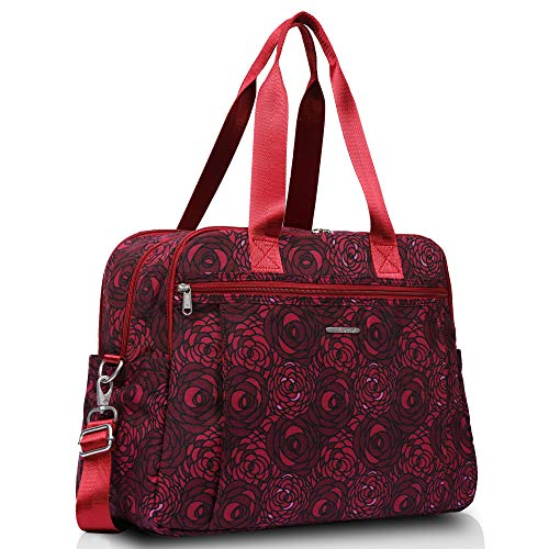 Lily & Drew Lightweight Travel Tote Crossbody Weekender Carry On 15.6' Laptop Bag for Women (Raspberry Rose)
