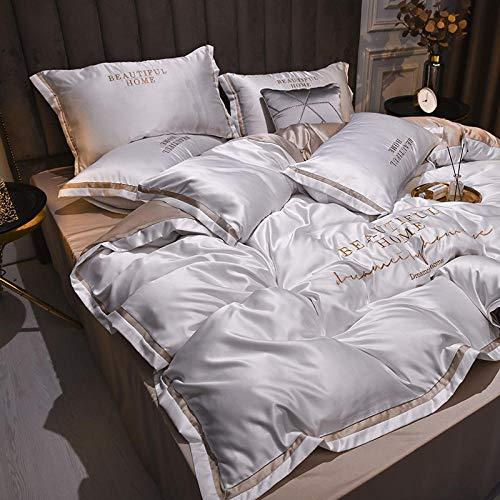 Geekcook Textiles del hogar,Ropa de Cama de Cuatro Piezas de Seda Lavada Funda nórdica de Lino Suave como la Seda-Blanco Original_2.0 Funda de edredón 2.2x2.4cm