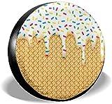 Illustrazione di gelato con gocciolante smalto bianco personalizzato protezione solare impermeabile copertura del pneumatico copertura del pneumatico, adatto per rimorchio, camper, SUV, camion e