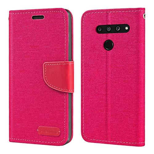 Capa para LG V50 ThinQ 5G, capa carteira de couro Oxford com capa traseira magnética de TPU macio para LG V50 ThinQ