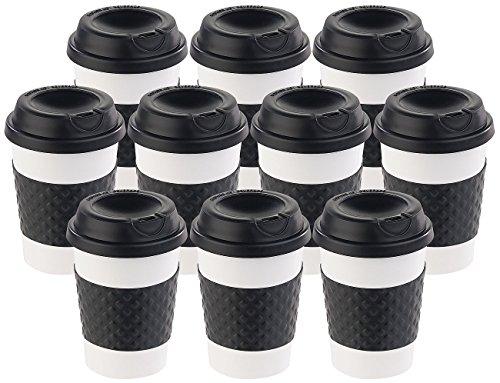 PEARL Kaffebecher: 10er-Set Coffee-to-go-Becher, Deckel, 350 ml, doppelwandig, BPA-frei (Kaffee to Go Becher)