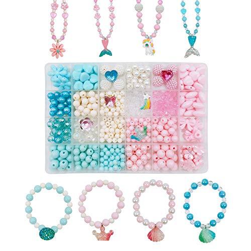witgift Juego de manualidades para niños con perlas para enhebrar, 500 unidades, unicornio, sirena, mariposa, collar, pulsera, fabricación de joyas para niñas