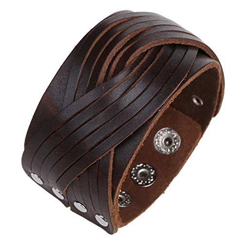 Pulsera de Cuero Premium para Hombre en Negro   Cerradura Magnética de Acero Inoxidable en Plata y Oro   Joyero Exclusivo   Gran Idea de Regalo