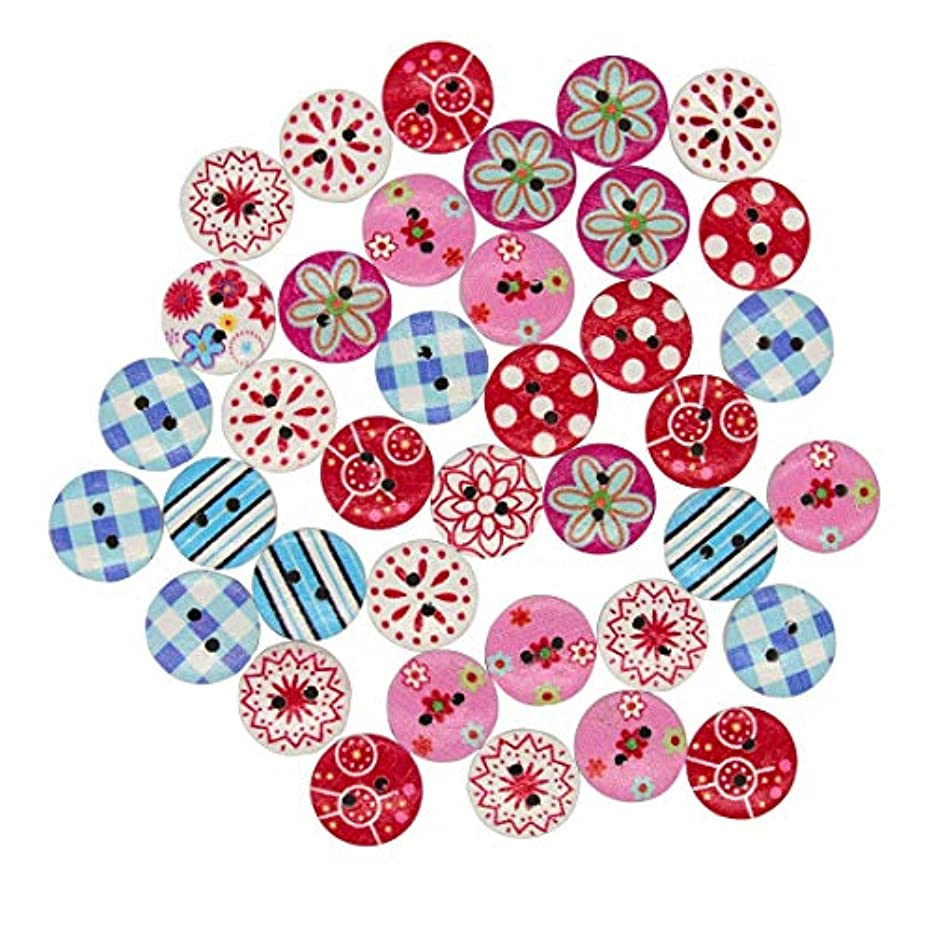 Richohome 200pcs Round Wood Buttons for Crafts Button 2 Hole Colorful Painting Buttons